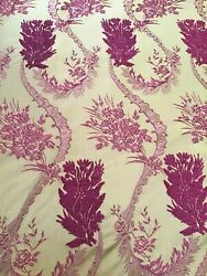 Clarence House Embroidered Gold Burgundy Silk Drapery Fabric 10 Yards