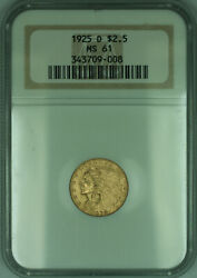 1925-d Indian Quarter Eagle 2.50 Gold Coin Ngc Ms-61 Kd