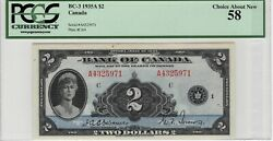 Canada 1935 English 2 Banknote Depicting Queen Mary Bc-3 P-40 Pcgs Choice Au-58