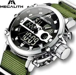 Megalith Mens Rugged Lcd Tactical Luminous Waterproof Military Watch Gift Idea