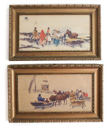 Adam Setkowicz Polish 1879 - 1945 Pair Of Watercolor Gouache Paintings Signed