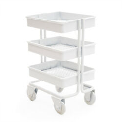 1:12 Miniature 3 Tier Metal Rolling Storage Carts Shelves Furniture Dollhouse