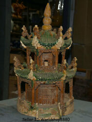 22.4 Collect Old Chinese Tang Sancai Pottery Dragon Yellow Crane Tower Statue