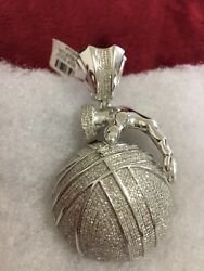 10kt White Gold Iced Out Basket Ball And Hand Diamond Pendant Solid + Heavy