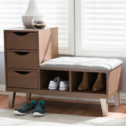 Arielle Modern Tufted Fabric And Wood 3-drawer Shoe Storage Cubby Entryway Bench