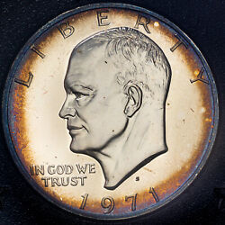 1971-s Eisenhower Brown Ike Silver Dollar Bu Toned Color Choice Unc Proof Mr