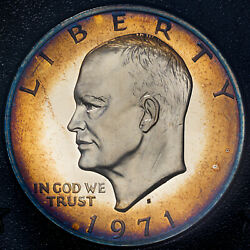 1971-s U.s Proof Eisenhower Brown Ike Silver Dollar Gorgeous Toned Choice