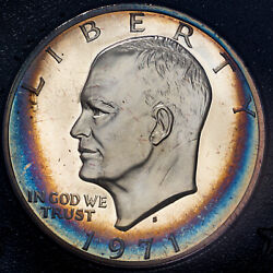 1971-s U.s Proof Eisenhower Brown Ike Silver Dollar Stunning Toned Color Unc