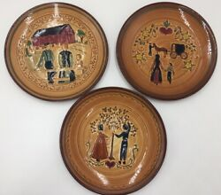 X3 Vintage Pennsbury Pottery Amish 9 Plates Apple Tree Red Barn Horse And Buggy