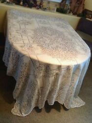 Vintage Ecru Lace Tablecloths 70 X 90 At Least 70 Years Old Or More