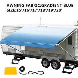 Awning Fabric Canopy 15/16/17/18/19/20 Ft For Rv Camper Trailer Ocean Blue Fade
