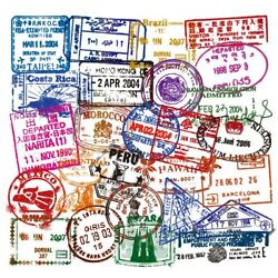 50 Unique Visa And Postal Stamps Package For Suitcases Bags And A Lot More