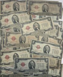 Lot Of 10 1928 Circulated Rare Two Dollar Bill 2 Note Fancy Red Seal Old Money