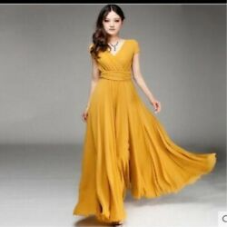 New Women Long Formal Prom Party Bridesmaid Chiffon Gown Cocktail V neck Dress $20.99