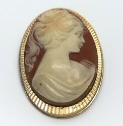 Vintage Fashion Costume Brooch Pin Pendant Cameo Gold Tone Red Women Right