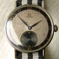 Good Condition Menand039s 35mm Omega Steel Wristwatch Wwii Period 1943