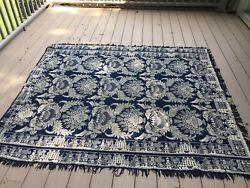 Antique Wool Hand Loomed Reversable Bed Throw With Fringe