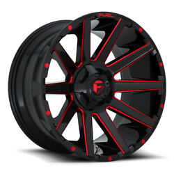 Fuel Contra D643 22x10 8x165.1 Offset -18 Gloss Black With Candy Red Qty Of 4