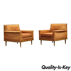 Pair Mid Century Modern Paul Mccobb Style Club Lounge Chairs By J.b. Sciver