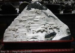 Chinese Natural Dushan Stone Jade Village Houses Mountain Water Landscape Statue
