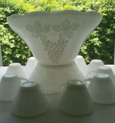 Milk Glass By Anchor Hocking - Grapes - Punch Bowl W/stand And 8 Cups - 10 Pc Lot