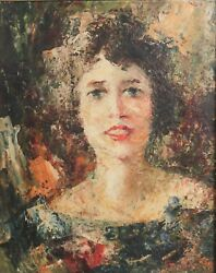 Portrait Of Woman Mid Century Oil Painting On Board Signed