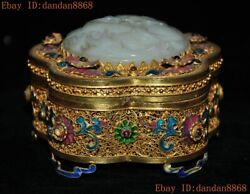 Old Chinese Silver 24k Gold Gilt Inlay Gem Hetian Jade Lotus Statue Jewelry Box