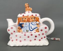 Tee-nee By Cardinal Sitting Pretty Teddy Bear Collection Vintage Teapot Nwt