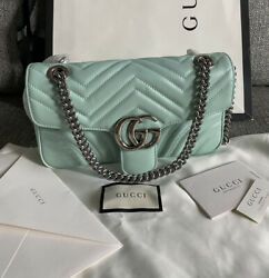 NWT Gucci Marmont Small Pastel Green Leather Chain Shoulder Crossbody Bag $1,690.00
