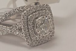 New 1.04 Ct Diamond Solitaire I1 H 14k White Gold W/double Halo Tcw 1.95