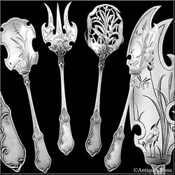 Molle French All Sterling Silver Dessert Hors Dand039oeuvre Set 4 Pc Art Nouveau