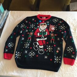 New Ugly Christmas Sweater Light Up Holiday Menand039s Large Santa Black Red
