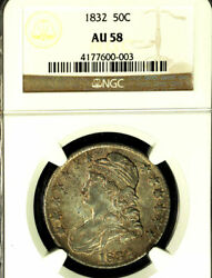 1832 50c Small Letters Au58 Ngc-capped Bust Half Dollar