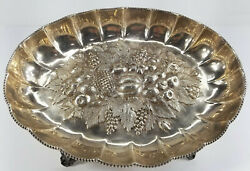 Antique English Sterling Silver Repousse Fruit Bowl Fenton Brothers Sheffield
