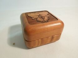Wood Trinket Box 2 1/2 Square Hand Carved Felt Lined Cattleya Orchid Hawaii