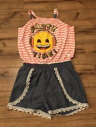 Emoji Girls One Piece Jumper quot;Party Timequot; Size Large 10 12 EUC *WOW* $9.99