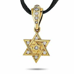 King Baby 18k Yellow Gold And Leather Diamond Star Of David Pendant Necklace