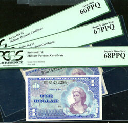 1 Mpc Series 661 - Rare 3 Cons Military Payment Certificates Pcgs 66/67/68 Ppq