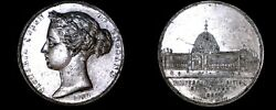 1862 Hanover Victoria Silvered Wm Medal 50mm Crystal Palace Universal Exhibit
