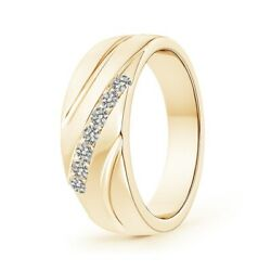 0.36ctw Channel-set Diamond 7-stone Wedding Band For Him In 14k Gold/platinum
