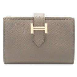 HERMES Bearn Card Holder Case Etoupe Gray Epsom Calfskin Leather Gold Plated