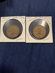 Rare Two 1971 Uk 2 New Pence Coins Coins 246and248