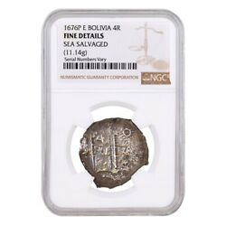 1676 P E Bolivia Charles Ii 4 Reales Silver Coin Ngc Fine Details 11.14 Gram