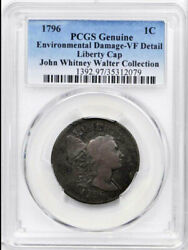 1796 1c Liberty Cap Vf20bn Pcgs-environmental Damage-only 76 Finer-flowing Hair