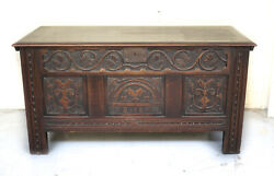 Continental Blanket Chest Iron Mounts Hand Carved 19th Century