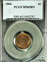 1866 1c Ms65bn Pcgs-only 2 In Higher Grade -indian Head Cent