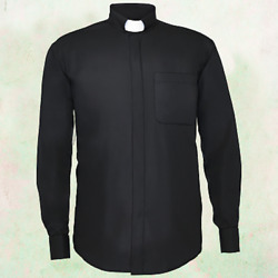 Men#x27;s *BLACK* Long Sleeves Tab Collar Clergy Clerical Minister Priest Shirt