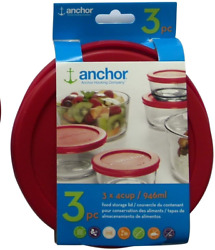 Anchor Hocking Lid 4 Cup / 946 Ml Set Of 3 Lids Red Round