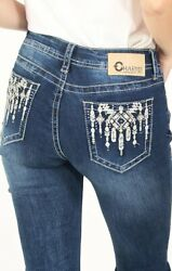 Charme By Grace In La Womenand039s Dripping Aztec Embellished Bootcut Stretch Jeans