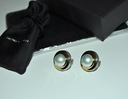 David Yurman Mabe Pearl Cerise Button Earrings 18k Yellow Gold And Sterling Silver